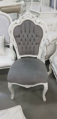 CHAIRS FRANCE BAROQUE STYLE DINING ROYAL CHAIR WHITE / GREY #90ST5